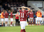 Arbroath v St Johnstone…15.08.21  Gayfield Park      Premier Sports Cup<br />Bobby Linn reacts to missing his penalty kick<br />Picture by Graeme Hart.<br />Copyright Perthshire Picture Agency<br />Tel: 01738 623350  Mobile: 07990 594431