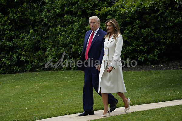 United States President Donald J. Trump and first lady Melania Trump depart the the White House in Washington, DC participate in a Memorial Day Ceremony at Fort McHenry National Monument and Historic Shrine in Baltimore, Maryland on Monday, May 25, 2020.<br /> Credit: Chris Kleponis / Pool via CNP/AdMedia