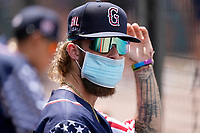 Cole Brannen (5) of the Greenville Drive in a game against the Aberdeen IronBirds on Sunday, July 11, 2021, at Fluor Field at the West End in Greenville, South Carolina. (Tom Priddy/Four Seam Images)