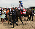 LOUISVILLE, KY - MAY 07: Tepin #1, ridden by Julien Leparoux, is led into the winners' circle after winning the Churchill Distaff Turf Mile(Photo by Sue Kawczynski/Eclipse Sportswire/Getty Images)
