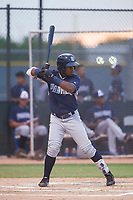 AZL Padres 2 left fielder Olivier Basabe (4) bats during a game against the AZL Rangers on August 2, 2017 at the Texas Rangers Spring Training Complex in Surprise, Arizona. Padres 2 defeated the Rangers 6-3. (Zachary Lucy/Four Seam Images)