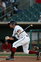 Ben Orloff #6 of the Lancaster JetHawks bats against the Modesto Nuts at Clear Channel Stadium on June 26, 2012 in Lancaster, California. Lancaster defeated Modesto 15-9. (Larry Goren/Four Seam Images)