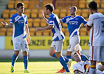 St Johnstone v Bradford City…19.07.16  McDiarmid Park, Perth. Pre-season Friendly<br />Brad McKay celebrates his goal with Graham Cummins and Chris Kane<br />Picture by Graeme Hart.<br />Copyright Perthshire Picture Agency<br />Tel: 01738 623350  Mobile: 07990 594431