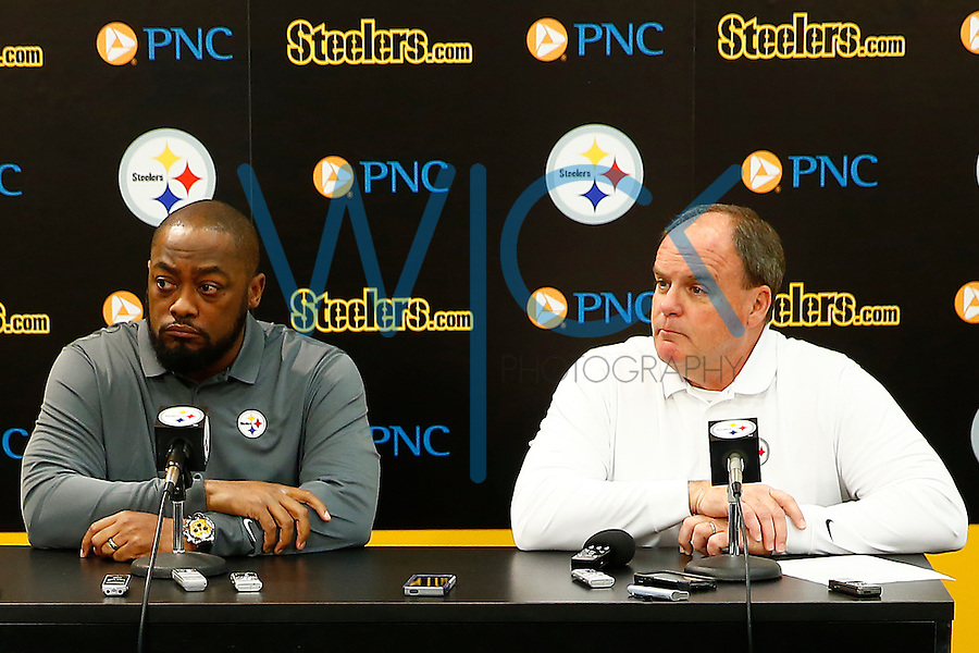 Pittsburgh Steelers head coach Mike Tomlin and GM Kevin Colbert speak during their pre-draft press conference at the south side practice facility in Pittsburgh, Pennsylvania on April 25, 2016. (Photo by Jared Wickerham/DKPittsburghSports)