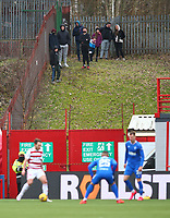 7th February 2021; Fountain of Youth Stadium Hamilton, South Lanarkshire, Scotland; Scottish Premiership Football, Hamilton Academical versus Rangers; fans gather on a grassy bank outside the stadium to watch their team