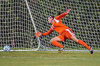 Texas State goalkeeper Caitlynn Rinehart (2) fails to save penalty kick by TCU forward Michelle Prokof (10) during NCAA soccer game, Friday, September 12, 2014 in San Marcos, Tex. TCU defeated Texas State 1-0. (Mo Khursheed/TFV Media via AP Images)