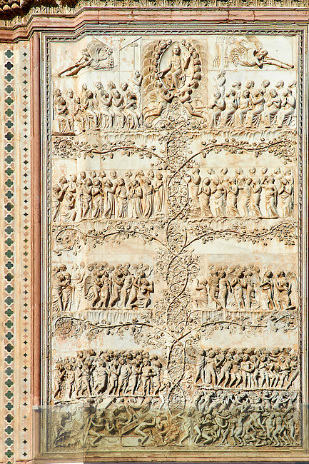 Bas-relief sculpture panel fo the Last Judgement made by Maitani around 1310 on the14th century Tuscan Gothic style facade of the Cathedral of Orvieto, Umbria, Italy