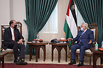 Palestinian President Mahmoud Abbas meets with World Bank President David Malpass in the West bank city of Ramallah on October 05, 2021. Photo by Thaer Ganaim