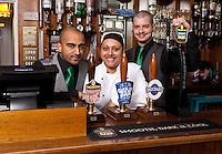 Dhiran Mehta (left) sister Pooja and Ben Spray of the Star pub in Beeston, Nottingham