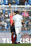 Referee Gonzalez Fuertes shows red card to Celta de Vigo's Maxi Gomez  during La Liga match. February 09,2019. (ALTERPHOTOS/Alconada)