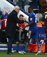 Leicester City manager Claudio Ranieri shakes hands with Jeff Schlupp after he is substituted during the Barclays Premier League match between Leicester City and Swansea City played at The King Power Stadium, Leicester on 24th April 2016