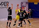 Deutschland - Sport<br /> Handball - Aufstiegsrunde zur 2. Bundesliga<br /> TuS Dansenberg (dan) - HSG Krefeld Niederrhein (kref) 24:21<br /> V.li: Fabian SERWINSKI (TuS Dansenberg), Carlos MARQUIS (kref), Sebastian BOESING (TuS Dansenberg) und Robin EGELHOF (TuS Dansenberg)<br /> <br /> Foto © PIX-Sportfotos *** Foto ist honorarpflichtig! *** Auf Anfrage in hoeherer Qualitaet/Aufloesung. Belegexemplar erbeten. Veroeffentlichung ausschliesslich fuer journalistisch-publizistische Zwecke. For editorial use only.