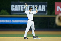 Johnny Aiello (2) of the Wake Forest Demon Deacons signals to the dugout after hitting a double against the West Virginia Mountaineers in Game Four of the Winston-Salem Regional in the 2017 College World Series at David F. Couch Ballpark on June 3, 2017 in Winston-Salem, North Carolina.  The Demon Deacons walked-off the Mountaineers 4-3.  (Brian Westerholt/Four Seam Images)