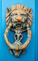 Lion Door Knocker on a blue door