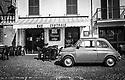 Black & White retro style photograph of Bar Centrale, Piazza Ernesto Capocci, Picinisco, Italy.