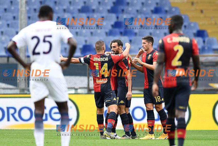 esultanza gol Davide Zappacosta <br /> Serie A football match between Genoa CFC and FC Crotone at Marassi Stadium in Genova (Italy), September 20th, 2020. Photo Image Sport / Insidefoto