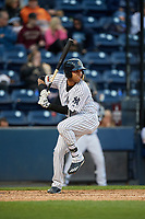 Scranton/Wilkes-Barre RailRiders shortstop Cito Culver (0) bats during a game against the Pawtucket Red Sox on May 15, 2017 at PNC Field in Moosic, Pennsylvania.  Scranton defeated Pawtucket 8-4.  (Mike Janes/Four Seam Images)