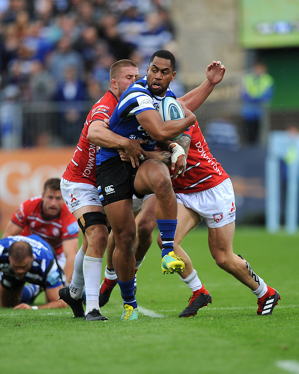 Joe Cokanasiga of Bath Rugby is tackled during the Gallagher Premiership Rugby match between Bath Rugby and Gloucester Rugby at The Recreation Ground on Saturday 8th September 2018 (Photo by Rob Munro/Stewart Communications)