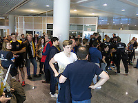 Photo: Richard Lane/Richard Lane Photography. Wasps rugby team and supporters travel to Toulon for the RC Toulon v Wasps.  European Rugby Champions Cup Quarter Final. 04/04/2015. Supporters and players mingle at Toulon airport.