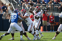 Arkansas quarterback KJ Jefferson (1) passes, Saturday, October 9, 2021 during the second quarter of a football game at Vaught Hemingway Stadium in Oxford, Miss. Check out nwaonline.com/211010Daily/ for today's photo gallery. <br /> (NWA Democrat-Gazette/Charlie Kaijo)