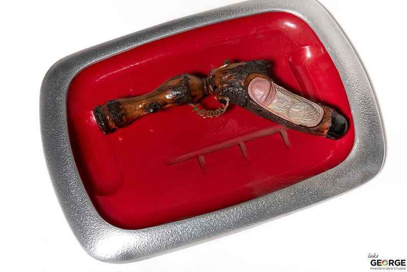 Title: Types of Guns<br /> Materials: Turkey Platter, Clay and Fruit Wood<br /> Size: 3Tx16x11<br /> Price: Available on Request
