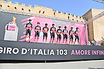 Lotto-Soudal at sign on before the start of Stage 2 of the 103rd edition of the Giro d'Italia 2020 running 149km from Alcamo to Agrigento, Sicily, Italy. 4th October 2020.  <br /> Picture: LaPresse/Gian Mattia D'Alberto | Cyclefile<br /> <br /> All photos usage must carry mandatory copyright credit (© Cyclefile | LaPresse/Gian Mattia D'Alberto)