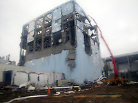 The stricken Fukushima Daiichi Nuclear Power Plant in Fukushima Prefecture, Japan. The plant was severely damaged after the March 11th earthquake and tsunami and continues to leak radiation.  <br /> 22 Mar 2011