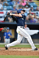 Asheville Tourists left fielder Vince Fernandez (8) swings at a pitch during a game against the Greenville Drive at McCormick Field on April 13, 2017 in Asheville, North Carolina. The Tourists defeated the Drive 3-1. (Tony Farlow/Four Seam Images)