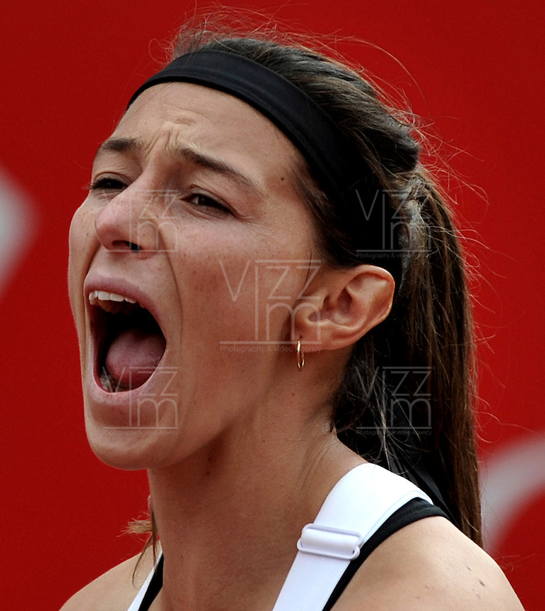 BOGOTA - COLOMBIA - FEBRERO 21-02-2013: Mariana Duque de Colombia, gesticula durante partido por la Copa de Tenis WTA Bogotá, febrero 21 de 2013. (Foto: VizzorImage / Luis Ramírez / Staff). Mariana Duque from Colombia, gestures during a match for the WTA Bogota Tennis Cup, on February 21, 2013, in Bogota, Colombia. (Photo: VizzorImage / Luis Ramirez / Staff) ...........