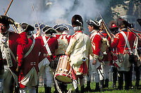 Hessian and British troops prepare for Revolutionary War reenactment of battle against the patriots. Hessian and British reenacters. Germantown Pennsylvania United States historic Germantown.