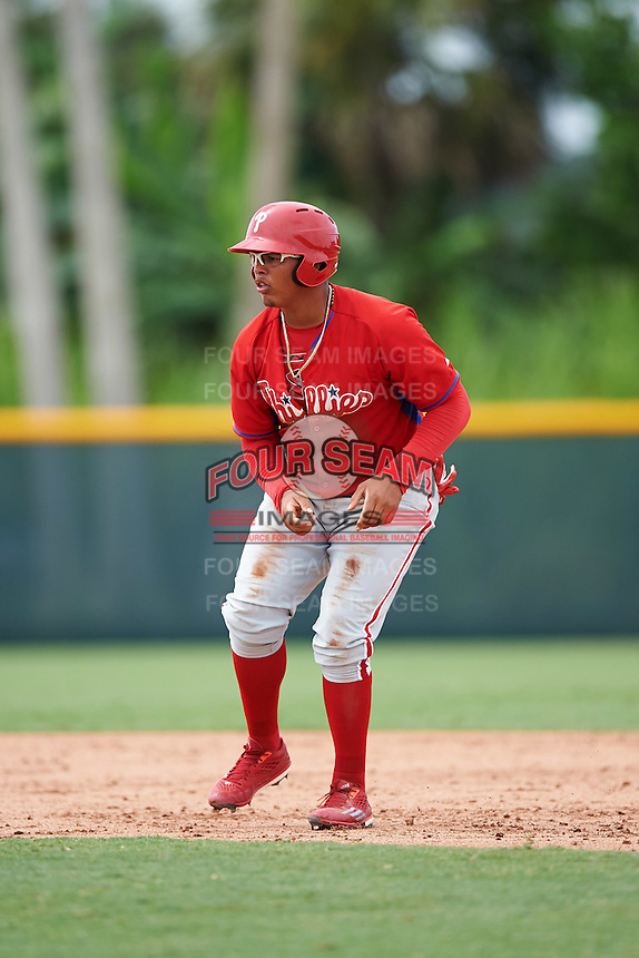 GCL Phillies designated hitter Jhailyn Ortiz (13) leads off second during a game against the GCL Pirates on August 6, 2016 at Pirate City in Bradenton, Florida.  GCL Phillies defeated the GCL Pirates 4-1.  (Mike Janes/Four Seam Images)