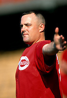 Pete Harnisch of the Cincinnati Reds participates in a Major League Baseball game at Dodger Stadium during the 1998 season in Los Angeles, California. (Larry Goren/Four Seam Images)