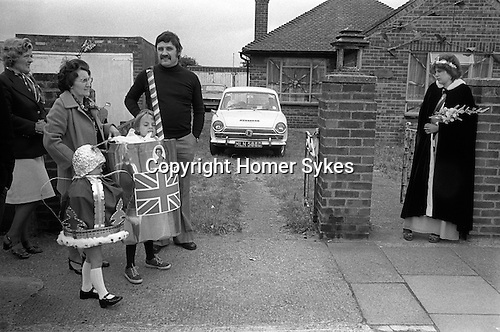 Rainham, Essex. 1977<br /> Spring Bank Holiday Monday, 6 June, Betterton Road residents hold a celebratory street party and elect a Silver Jubilee Queen.   <br /> <br /> <br /> My ref 37/2057/,1977,