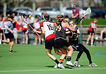 FRANKFURT AM MAIN, GERMANY - April 14: (L-R) Lena Kuglitsch #19 of Austria, Emily Patterson #19 and Katharina Schroer #13 of Germany during the Deutschland Lacrosse International Tournament match between Germany vs Austria on April 14, 2013 in Frankfurt am Main, Germany. Germany won, 10-4. (Photo by Dirk Markgraf)