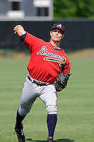 Pitcher Caleb Dirks (70) of the Atlanta Braves farm system in a Minor League Spring Training intrasquad game on Wednesday, March 18, 2015, at the ESPN Wide World of Sports Complex in Lake Buena Vista, Florida. (Tom Priddy/Four Seam Images)