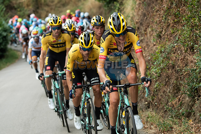 Robert Gesink (NED), Primoz Roglic (SLO), Sepp Kuss (USA) and Tom Dumoulin (NED) Team Jumbo-Visma set the pace on the front of the peloton during Stage 1 of Criterium du Dauphine 2020, running 2185km from Clermont-Ferrand to Saint-Christo-en-Jarez, France. 12th August 2020.<br /> Picture: ASO/Alex Broadway | Cyclefile<br /> All photos usage must carry mandatory copyright credit (© Cyclefile | ASO/Alex Broadway)