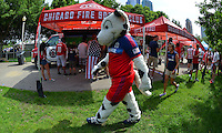 Chicago, IL., - Monday, June 16, 2014: U.S. fans celebrate and take part in the World Cup festivities and watch the Group G match  between the USMNT vs. Ghana, during the World Cup viewing party hosted by U.S. Soccer at Grant Park.