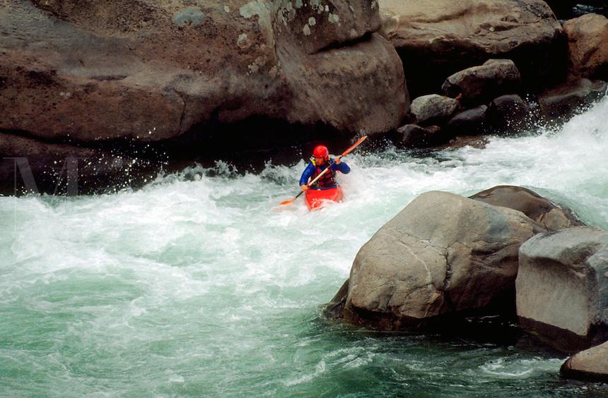Whitewater kayaking on the Wenatchee River. Leavenworth, Washington.