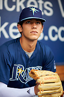 Pitcher Anthony Molina (20) of West Broward High School in Pembroke Pines, Florida playing for the Tampa Bay Rays scout team during the East Coast Pro Showcase on July 27, 2015 at George M. Steinbrenner Field in Tampa, Florida.  (Mike Janes/Four Seam Images)