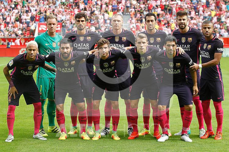 FC Barcelona's team photo with Marc-Andre Ter Stegen, Andre Gomes, Jeremy Mathieu, Sergio Busquets, Gerard Pique, Rafinha Alcantara, Neymar Santos Jr, Arda Turan, Sergi Roberto, Lucas Digne and Luis Suarez during La Liga match. September 24,2016. (ALTERPHOTOS/Acero)