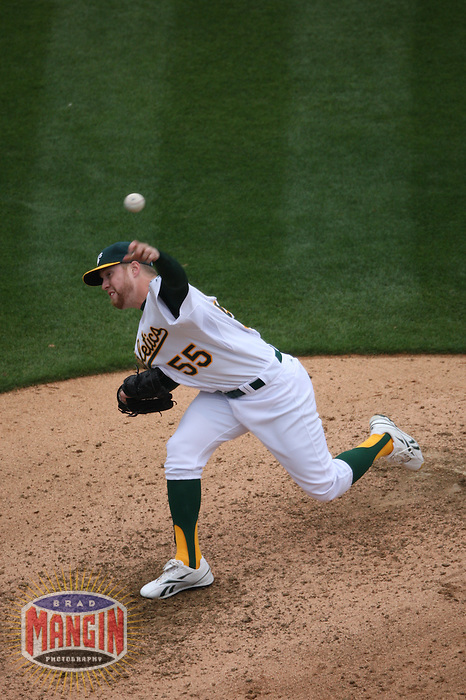 OAKLAND, CA - MAY 24:  Josh Outman #55 of the Oakland Athletics pitches against the Arizona Diamondbacks during the game at Oakland-Alameda County Coliseum on May 24, 2009 in Oakland, California. Photo by Brad Mangin