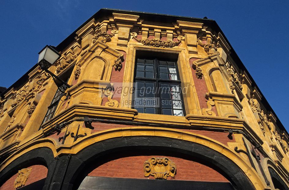 Europe/France/Nord-Pas-de-Calais/59/Nord/Lille: Détail de la façade de la maison de Gilles Boe 1636 - Rue Louise de Bettignies