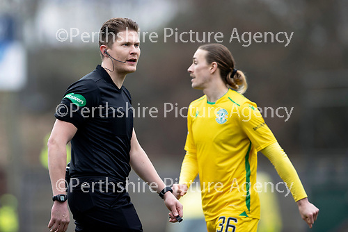 St Johnstone v Hibs …06.03.21   McDiarmid Park   SPFL<br />Referee David Dickinson<br />Picture by Graeme Hart.<br />Copyright Perthshire Picture Agency<br />Tel: 01738 623350  Mobile: 07990 594431