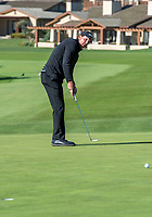 9th February 2020, Pebble Beach, Carmel, California, USA;  Phil Mickelson putts on the 1st hole green during the championship round of the AT&T Pro-Am on Sunday