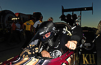 Oct. 30, 2011; Las Vegas, NV, USA: NHRA top fuel dragster driver Del Worsham after winning the Big O Tires Nationals at The Strip at Las Vegas Motor Speedway. Mandatory Credit: Mark J. Rebilas-