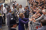 Mrs Maggie Margaret Thatcher, 1983. Downing Street Conservative party  supporters greet the new Prime Minister, London. General Election. Broadcaster Peter Snow in white suit with mike behind her.