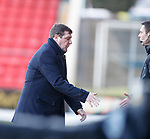 26.10.2019 St Johnstone v Hamilton: A visibly happy Tommy Wright shakes hands with 4th official Kevin Clancy and heads up the tunnel