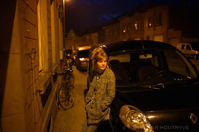 Emmeline Vandeputte is seen in the street in Hoegaarden, Belgium on April 21, 2013.