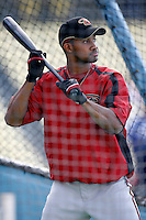 Chris Young of the Arizona Diamondbacks during batting practice before a game from the 2007 season at Dodger Stadium in Los Angeles, California. (Larry Goren/Four Seam Images)
