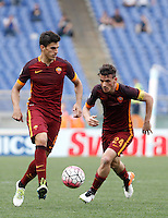 Calcio, Serie A: Lazio vs Roma. Roma, stadio Olimpico, 3 aprile 2016.<br /> Roma's Diego Perotti, left, and Alessandro Florenzi in action during the Italian Serie A football match between Lazio and Roma at Rome's Olympic stadium, 3 April 2016.<br /> UPDATE IMAGES PRESS/Isabella Bonotto